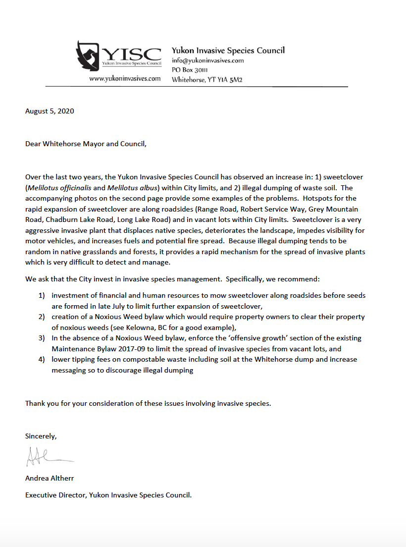 Letter to Whitehorse Mayor and  Council regarding management of invasive species