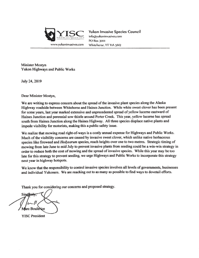 Letter to Yukon highways and Public Works 2019